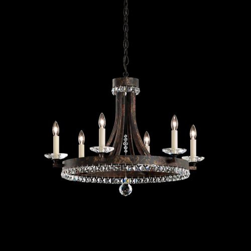 Early american chandelier in heirloom bronze with clear spectra crystal